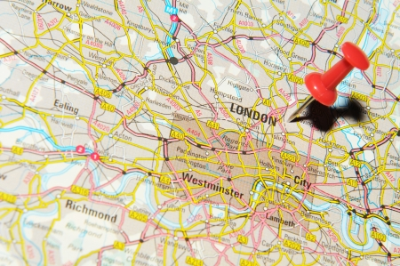 drawing pin: London, UK - 13 June, 2012: London, UK marked with red pushpin on Europe map.