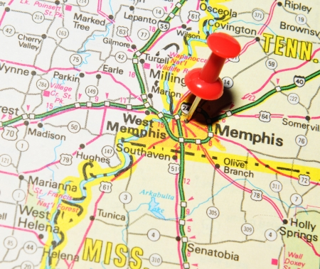 drawing pin: London, UK - 13 June, 2012: Memphis marked with red pushpin on the United States map.