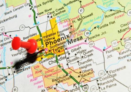London, UK - 13 June, 2012: Phoenix, Arizona marked with red pushpin on the United States map.