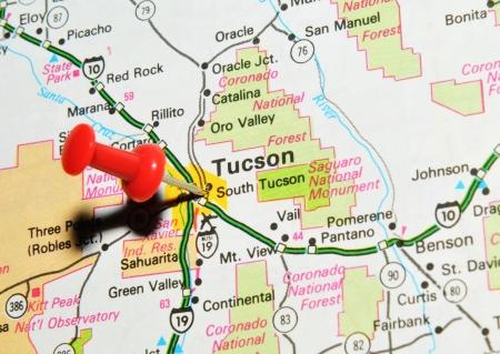 London, UK - 13 June, 2012: Tucson, Arizona Marked With Red Pushpin ...