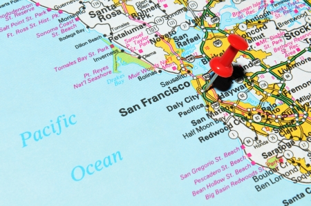 marked: London, UK - 13 June, 2012: San Francisco city marked with red pushpin on the United States map.