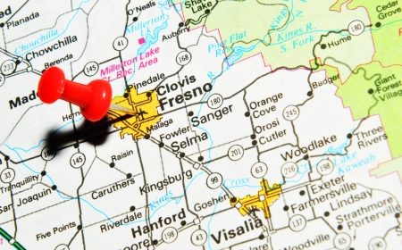London, UK - 13 June, 2012: Fresno, California, marked with red pushpin on the United States map.