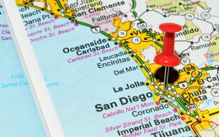 drawing pin: London, UK - 13 June, 2012: San Diego, California, marked with red pushpin on the United States map.