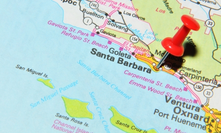 London, UK - 13 June, 2012: Santa Barbara marked with red pushpin on the United States map.