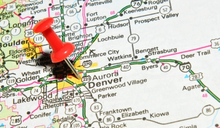 drawing pin: London, UK - 13 June, 2012: Denver, Colorado marked with red pushpin on the United States map.