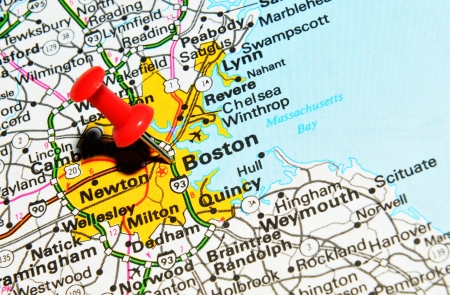 drawing pin: London, UK - 13 June, 2012: Boston marked with red pushpin on the United States map.
