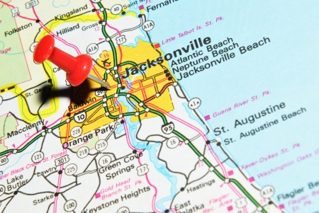 London, UK - 13 June, 2012: Jacksonville, Florida marked with red pushpin on the United States map.