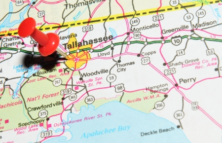 London, UK - 13 June, 2012: Tallahassee , Florida marked with red pushpin on the United States map.