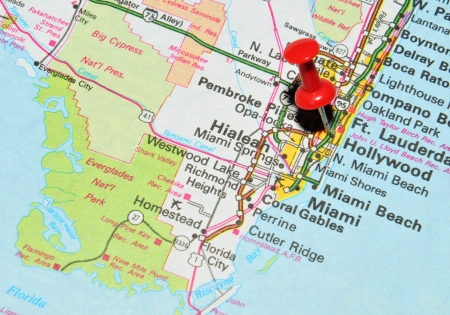 London, UK - 13 June, 2012: Hollywood, Florida marked with red pushpin on the United States map.