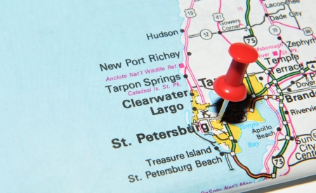 London, UK - 13 June, 2012: St. Petersburg, Florida marked with red pushpin on the United States map.