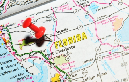 marked: London, UK - 13 June, 2012: Florida marked with red pushpin on the United States map. Editorial