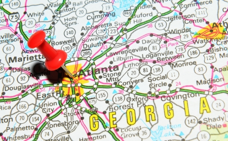 atlanta tourism: London, UK - 13 June, 2012: Atlanta city marked with red pushpin on the United States map. Editorial