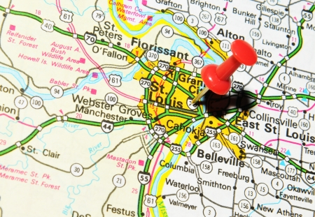 saint mark's: London, UK - 13 June, 2012: St. Louis, Missouri marked with red pushpin on the United States map.