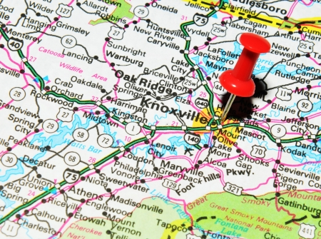 Knoxville Tennessee Red Flag Pin On An Old Map Showing Travel