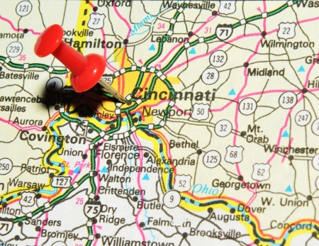 ohio: London, UK - 13 June, 2012: Cincinnati city marked with red pushpin on the United States map Editorial