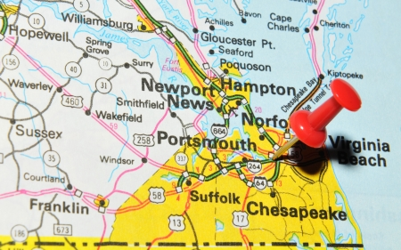 pinned: London, UK - 13 June, 2012: Portsmouth city marked with red pushpin on the United States map. Portsmouth is a city in Rockingham County, New Hampshire in the United States. Editorial