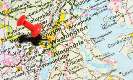 drawing pin: London, UK - 13 June, 2012: Washington, DC city marked with red pushpin on the United States map.