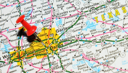 London, UK - 13 June, 2012: Dallas, Texas marked with red pushpin on United States map
