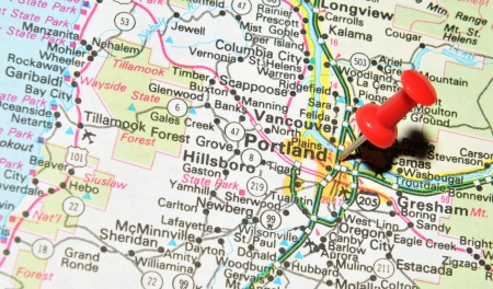 ondon, UK - 13 June, 2012: Portland, Oregon marked with red pushpin on US map. Portland is Oregon s most populous city Editorial