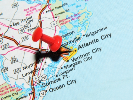 atlantic city: London, UK - 13 June, 2012: Atlantic City, New Jersey, US marked with red pushpin on map. Atlantic City is a major city in North America