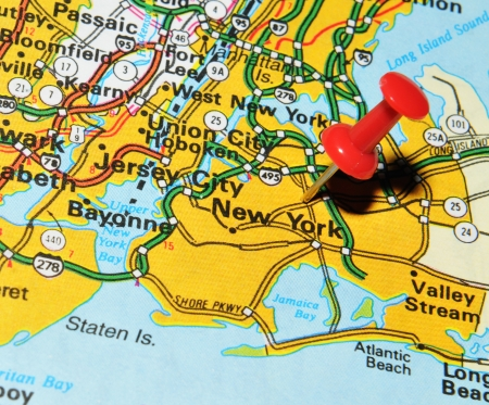 new york map: London, UK - 13 June, 2012: New York city marked with red pushpin on US map. New York is the most populous city in the world