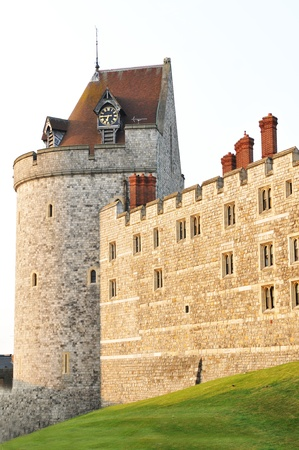the royal county: Windsor, UK - July, 2011: Architectural detail of the famous Windsor castle in England  Editorial