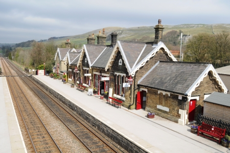 settle: Settle, Yorkshire (United Kingdom) - May 2010: Old railway station in Settle, North Yorkshire