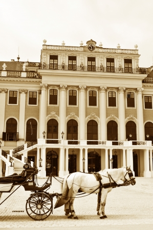 Vienna, Austria - June, 2011: Vintage architecture of the famous Schonbrunn Palace in Vienna, Austria