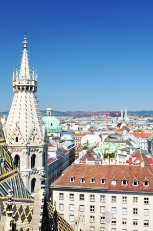 Vienna, Austria - June, 2011: Vienna panorama as seen from the St. Stephen cathedral's tower