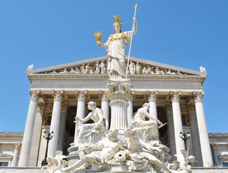 european parliament: Vienna, Austria - June, 2011: Architectural detail of the Austrian Parliament building in Vienna, Austria