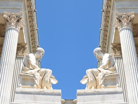 Vienna, Austria - June, 2011: Architectural detail of the Austrian Parliament building in Vienna, Austria