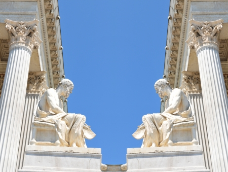 ancient philosophy: Vienna, Austria - June, 2011: Architectural detail of the Austrian Parliament building in Vienna, Austria