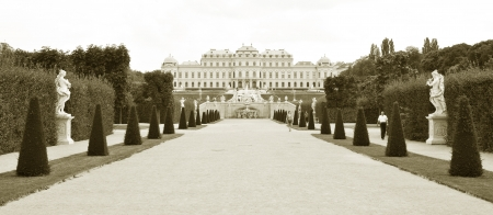 Vienna, Austria - June, 2011: Panorama of Belvedere palace and gardens in Vienna, Austria