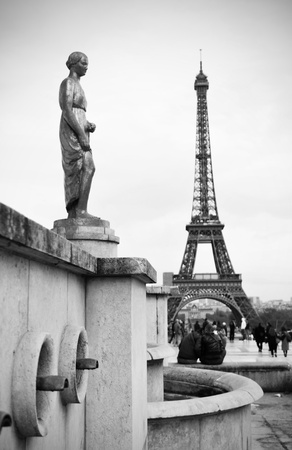 Paris, France - 30 March, 2011: Tourists admiring Le Tour Eiffel (Eiffel Tower) from L Stock Photo - 17118764