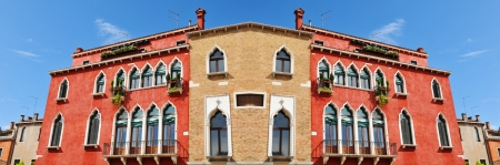 Venice, Italy - 06 May, 2012: Architectural detail of Venetian palace in Rialto, Venice