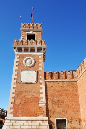 Venice, Italy - 06 May, 2012:  Architectural detail of old castle in Venice, Italy