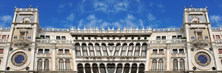 Venice, Italy - 06 May, 2012:  Architectural detail of the famous clock tower in San Marco square in Venice, Italy