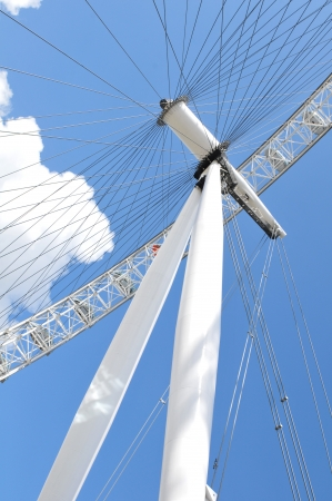 eye traveller: London, UK - 5 August, 2012: Architectural detail of the London Eye and British flag
