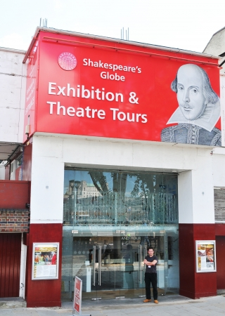 globe theatre: London, UK - August 05, 2012: Entrance to the Shakespeares Globe theatre, major cultural landmark in London Editorial