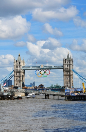 London, UK - August 05, 2012: The famous Tower Bridge is decorated with the Olympic circles to celebrate the 30th Olympiad hosted by London Stock Photo - 17136694