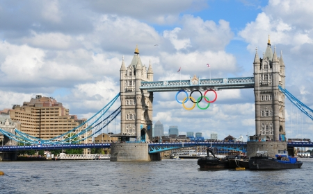 olympiad: London, UK - August 05, 2012: The famous Tower Bridge is decorated with the Olympic circles to celebrate the 30th Olympiad hosted by London