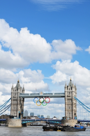 London, UK - August 05, 2012: The famous Tower Bridge is decorated with the Olympic circles to celebrate the 30th Olympiad hosted by London Stock Photo - 17136682