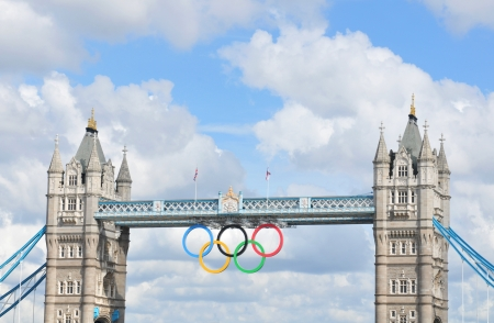 London, UK - August 05, 2012: The famous Tower Bridge is decorated with the Olympic circles to celebrate the 30th Olympiad hosted by London Stock Photo - 17136666