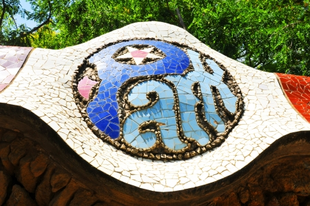 Barcelona, Spain - 08 July, 2012: Architectural detail of mosaic in the famous Park Guell in Barcelona, Spain