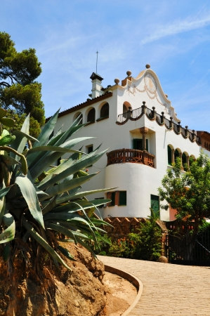 Barcelona, Spain - 07 July, 2012: Gaudi house in the Park Guell, major touristic attraction in the Spanish capital city