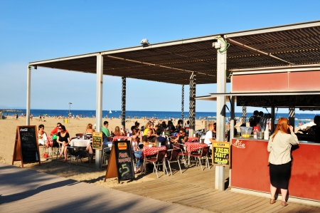 beach bar: Barcelona, Spain - 6 July, 2012: Traditional beach bar overlooking crowded beach in Barceloneta