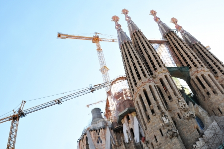 Barcelona, Spain - 6 July, 2012: The famous Sagrada Familia in Barcelona under construction