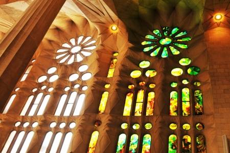 gothic window: Barcelona, Spain - 6 July, 2012: Interior of the famous Sagrada Familia cathedral in Barcelona, Spain