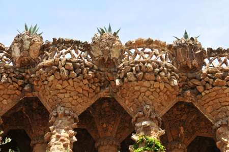 viaducts: Barcelona, 06 July, 2012: Architectural detail of viaducts in the Park Guell  in Barcelona, Spain