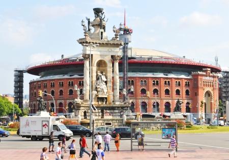arenas: Barcelona, Spain - 09 July, 2012: Architecture of the Arenas de Barcelona in Placa d Espana
